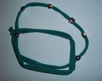 tubular teal Bracelet Necklace