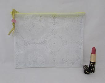 Large zipper pouch, clear vinyl, waterproof PVC 'lace', make-up, medication airplane, beach, hand-made in France