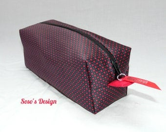 Red and black case with red polka dots