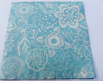20 paper flower Butterfly blue and white 33 X 33 cm lunch napkins