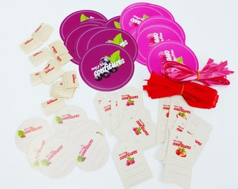 set of 24 jars of jam pot decoration: 24 lids 24 label stickers 24 Ribbon and 24 stickers