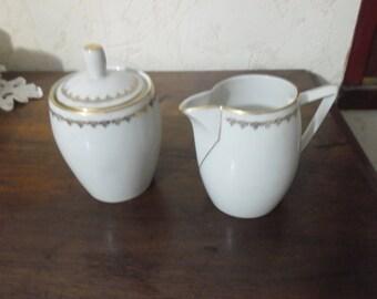 Milk jug and sugar bowl vintage Châtres on expensive french porcelain china