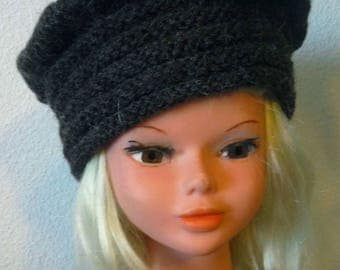 Hat, beanie, dark brown wool knit beret