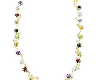 14K Yellow Gold Handmade Station Necklace With 6mm Gemstones By The Yard 36 or 40 Inches