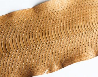 Matte water snake skin Brown 90 cm x 16.5 cm