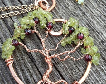 tree of life pendant in copper, Peridot and Garnet