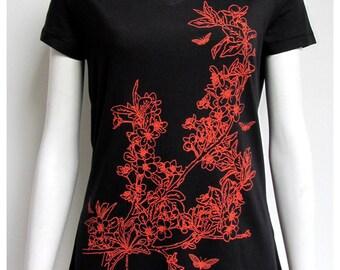 t-shirt women cherry blossoms green division, v-neck, black, short sleeves, 100% cotton