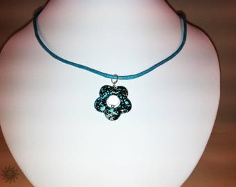turquoise magic beads and turquoise drawbench Flower Adornment
