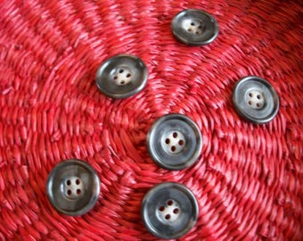 Plain grey round buttons for sewing