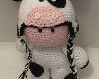 """Crochet Amigurumi Cow Doll """"Moo Moo"""""""