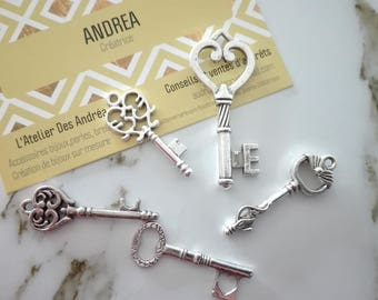 Set no. 7 ☆ / x 5 silver metal key / shapes mixtes☆