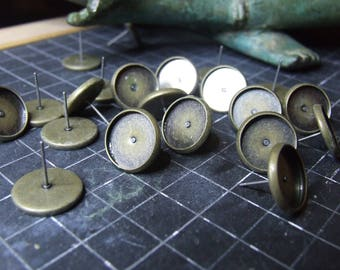 20 SUPPORTS BO RODS FOR CABOCHONS 12 MM OR 10 PAIRS