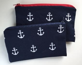 Navy Anchor Waterproof Washable Reusable Snack Bag