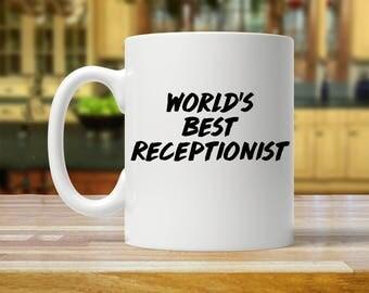 worlds best receptionist, receptionist mug, receptionist gift, gift for receptionist, best receptionist, receptionist mugs, receptionist cup