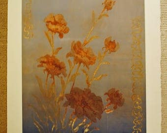 ART Silver Poppies asian flowers 5/100 Signed Donna Sramek Signed Lithograph art