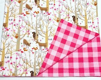 Woodland Pink Receiving Blanket