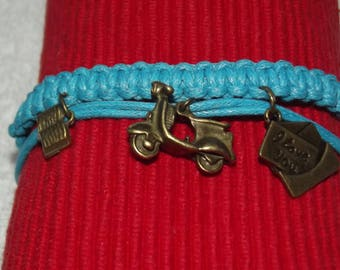 Waxed cotton bracelet and charms bronze metal