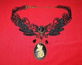"Necklace / Gothic cameo Choker ""the fairy of the afterlife"""