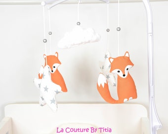 Mobile musical baby handmade Fox @lacouturebytitia white minky cloud and stars