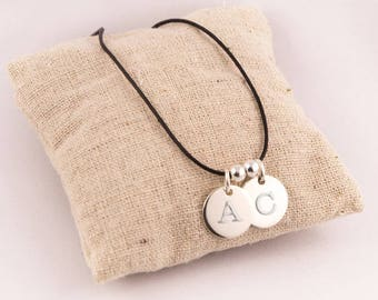 Duo pendants round silver engraved personalized initial
