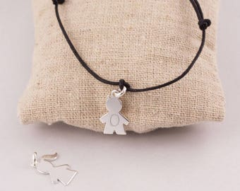 Adjustable String Bracelet engraved character Silver - personalized engraved jewelry