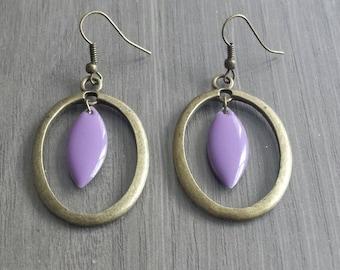 Purple and bronze earrings