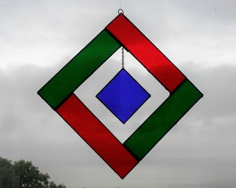 Stained glass blue hanging square suncatcher