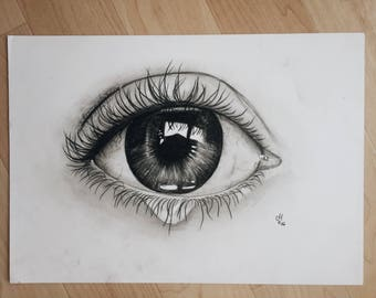Black & white eye drawing - print