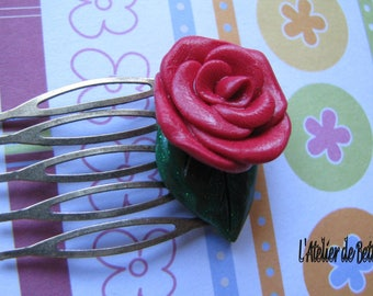 Fimo red rose hair comb