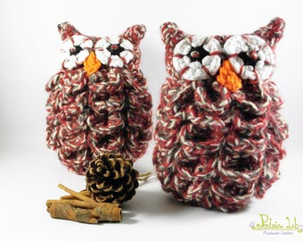 OWL plush red variegated Brown and cream made decorative crochet