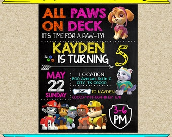 Paw patrol girl invitation,paw patrol girl,paw patrol birthday,paw patrol invites,PDF editable invitation,paw patrol party,invitation girl