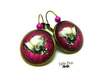 Lady glass dome earrings retro vintage