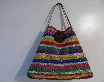 Purse raffia woven fabric