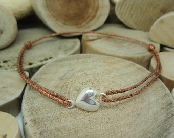 Silver puffed heart bracelet