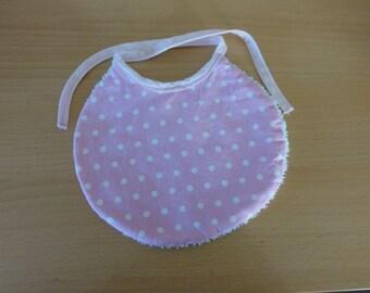 white polka dot cotton baby bib