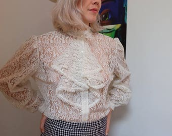 Vintage 70s  Lace Ruffled Blouse