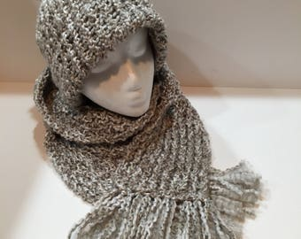 Gray Hat and Scarf Set