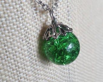 Emerald broken glass necklace