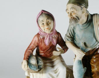 Elderly Couple Statue, Fisherman, Vintage Inarco Japan Figurine, Old Man and Old Lady Home Decor, Vintage Decor, Catch of the Day