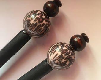 Brown Leopard Wood Hair Sticks