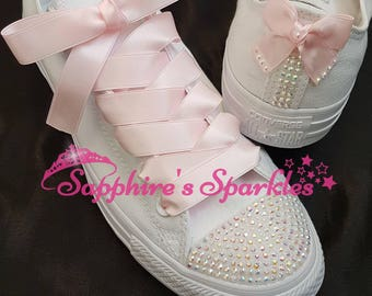 Customised Bling Baby Pink Sparkly White Crystal Mono Converse