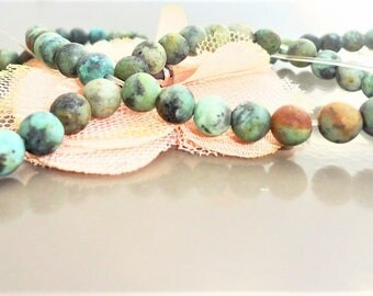 African turquoise round beads 8 mm