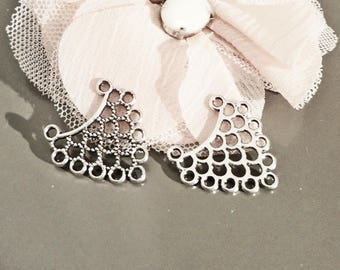 Connector link, support earring, silver plated necklace 23 mm x 23 x 2