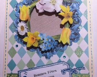 Baroque flower Crown 3D Easter card