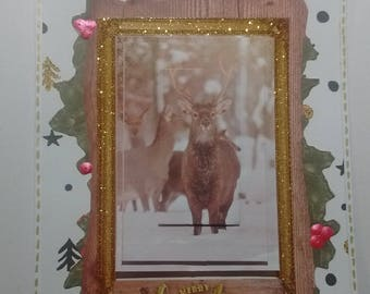 Merry Christmas, deer in snow card 3D