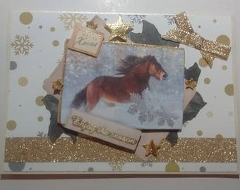 "Card ""Merry Xmas"" galloping horse, 3D"