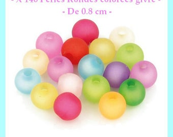Frost colored round beads - 8 mm - about 50 pcs - new