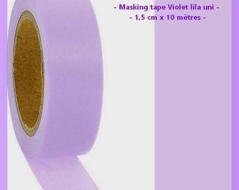 Washi tape purple plain - 1.5 cm x 10 m - new