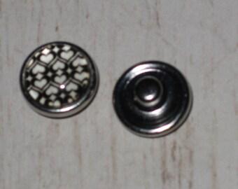 Mini-Bouton snap chunk glass hearts jewelry