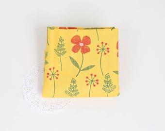 Yellow floral 100% Cotton Fabric BY HALF YARD Flowers leaf Digital textile print / flower quilting DTP904+